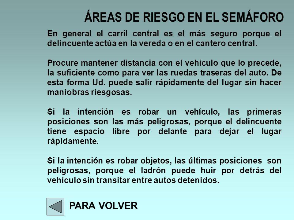 ÁREAS DE RIESGO EN EL SEMÁFORO PARA VOLVER En general el carril central es el más seguro porque el delincuente actúa en la vereda o en el cantero cent