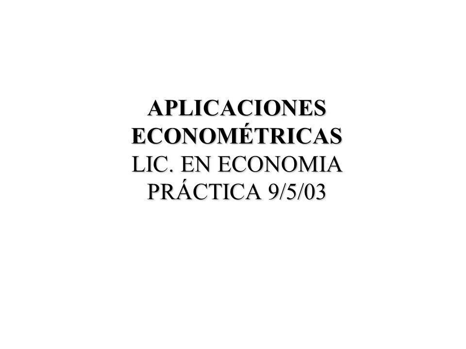 VIOLACIÓN DE LAS HIPÓTESIS BÁSICAS EN M.C.O.: CONTRASTES DE ESPECIFICACIÓN ERRÓNEA RATS/EVIEWS
