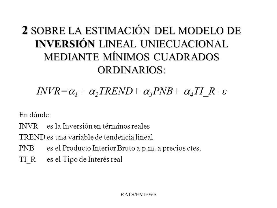 2 SOBRE LA ESTIMACIÓN DEL MODELO DE INVERSIÓN LINEAL UNIECUACIONAL MEDIANTE MÍNIMOS CUADRADOS ORDINARIOS: INVR= 1 + 2 TREND+ 3 PNB+ 4 TI_R+ε En dónde: