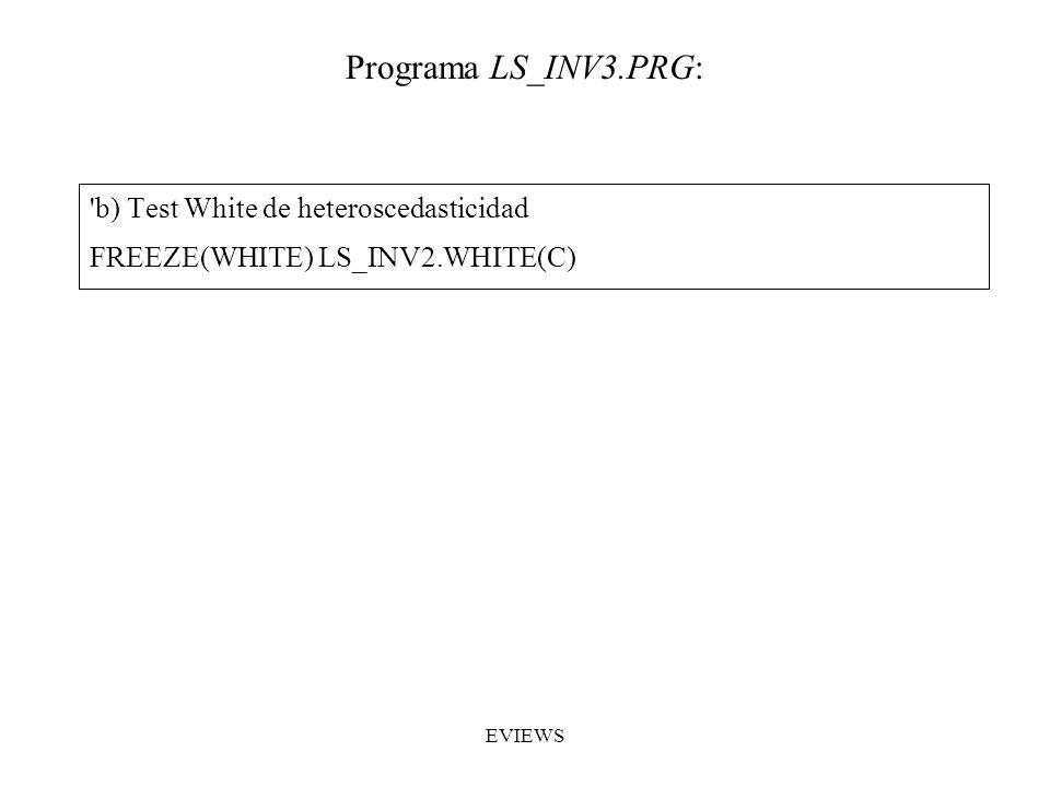 'b) Test White de heteroscedasticidad FREEZE(WHITE) LS_INV2.WHITE(C) Programa LS_INV3.PRG: EVIEWS