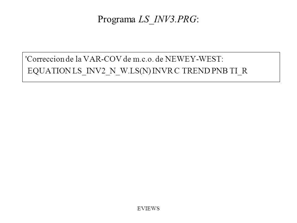 'Correccion de la VAR-COV de m.c.o. de NEWEY-WEST: EQUATION LS_INV2_N_W.LS(N) INVR C TREND PNB TI_R Programa LS_INV3.PRG: EVIEWS