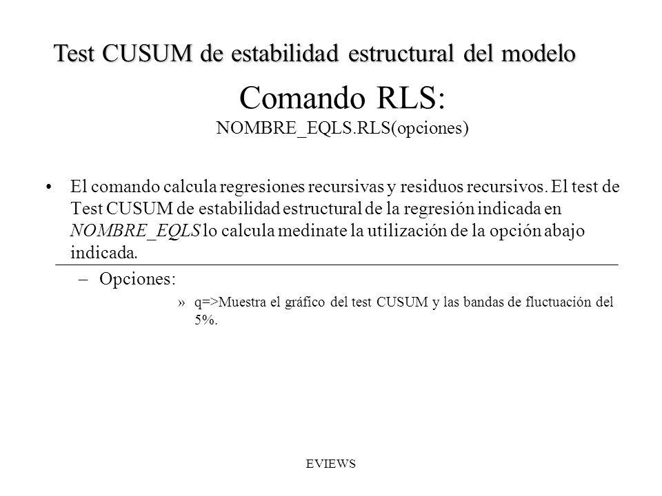 Comando RLS: NOMBRE_EQLS.RLS(opciones) El comando calcula regresiones recursivas y residuos recursivos. El test de Test CUSUM de estabilidad estructur