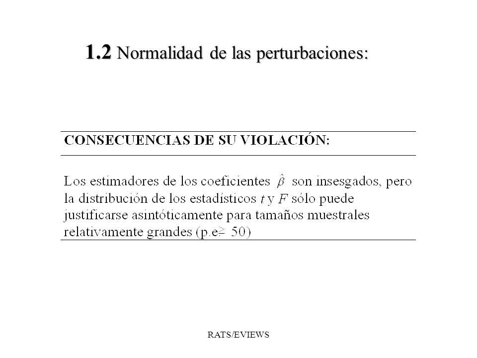 1.2 Normalidad delas perturbaciones: 1.2 Normalidad de las perturbaciones: RATS/EVIEWS