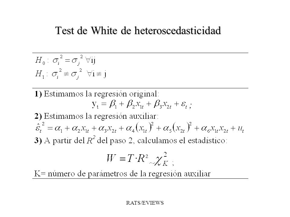 Test de White de heteroscedasticidad RATS/EVIEWS