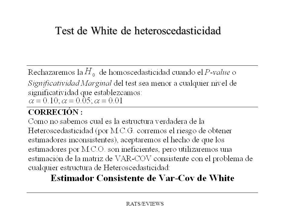 Comando AUTO: NOMBRE_EQLS.AUTO(opciones) Calcula el test de Test LM de Multiplicadores de Lagrange de Breusch- Godfrey para comprobar si existe autocorrelación sobre los resíduos de la regresión indicada en NOMBRE_EQLS.