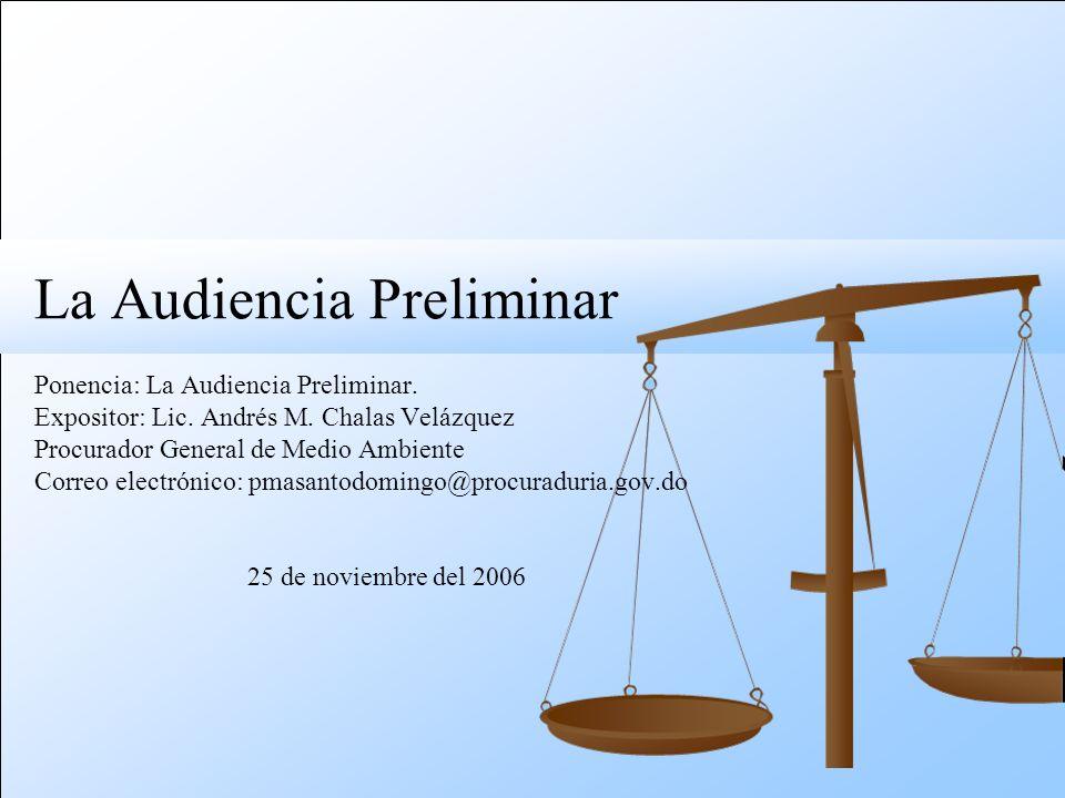 La Audiencia Preliminar Ponencia: La Audiencia Preliminar.