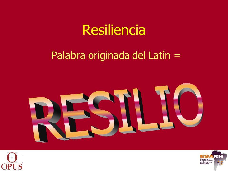 Resiliencia Palabra originada del Latín =