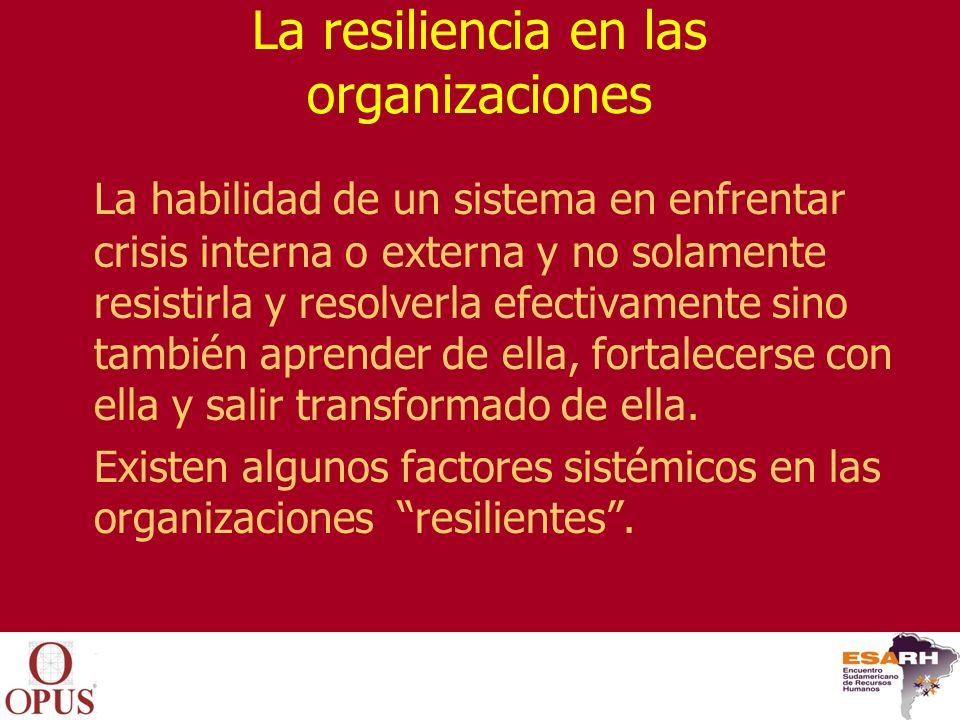 Las categorías de factores que determinan el nivel de resiliencia en una organización, según Brenson-Lazan.