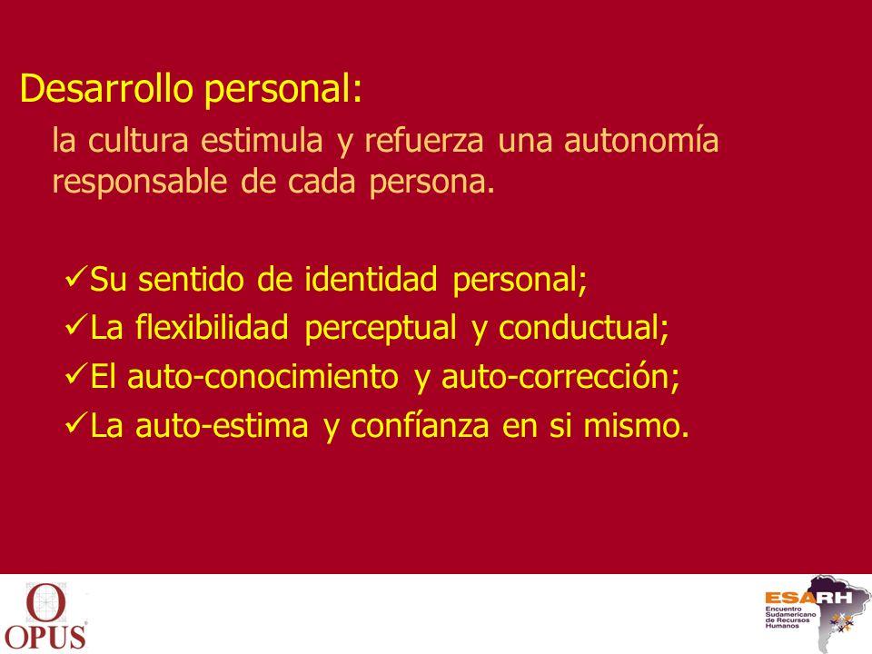 Desarrollo interpersonal: la cultura estimula y refuerza los procesos de sinergia interpersonal.