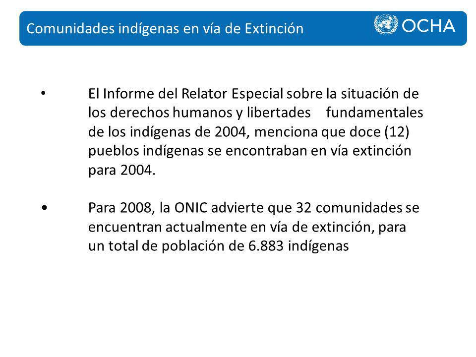 El Informe del Relator Especial sobre la situación de los derechos humanos y libertades fundamentales de los indígenas de 2004, menciona que doce (12)