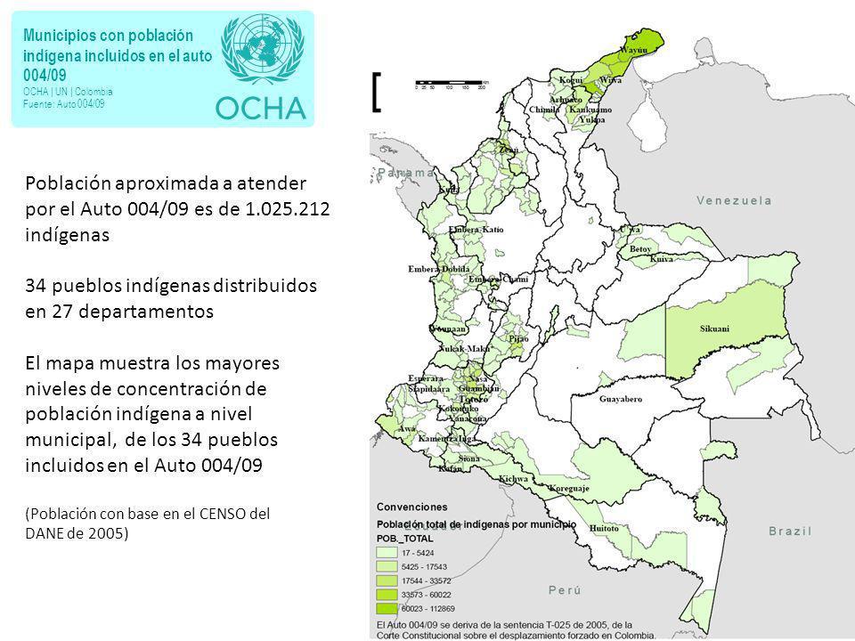 Municipios con población indígena incluidos en el auto 004/09 OCHA | UN | Colombia Fuente: Auto 004/09 Población aproximada a atender por el Auto 004/