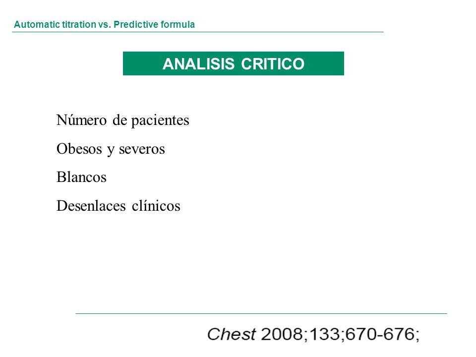 Automatic titration vs. Predictive formula ANALISIS CRITICO Número de pacientes Obesos y severos Blancos Desenlaces clínicos