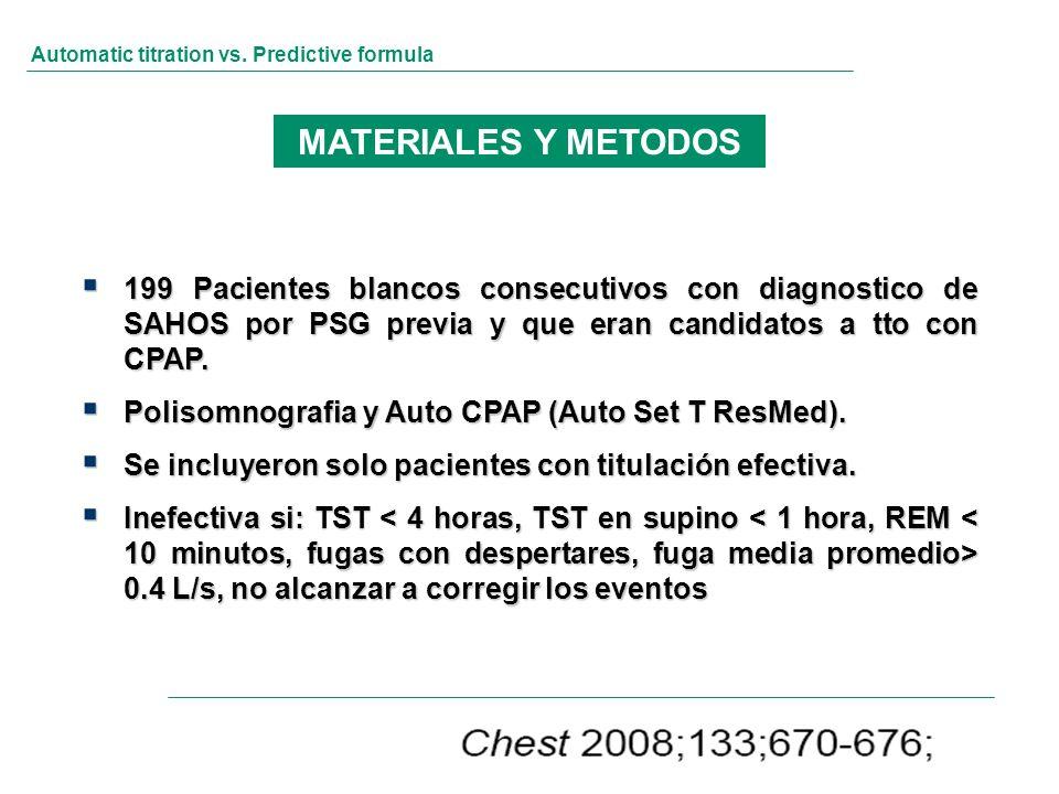 Automatic titration vs. Predictive formula 199 Pacientes blancos consecutivos con diagnostico de SAHOS por PSG previa y que eran candidatos a tto con