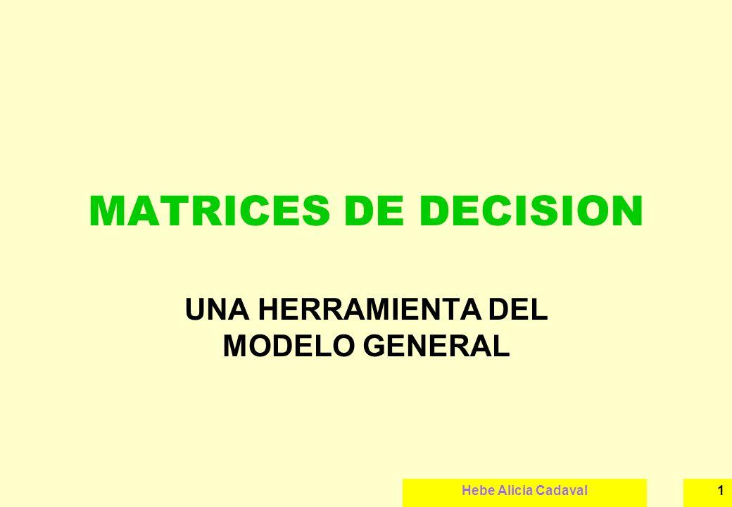 Hebe Alicia Cadaval2 DEFINICIÓN Es un cuadro de doble entrada, donde se ordenan todos los resultados que pueden surgir de la implementación de una decisión.