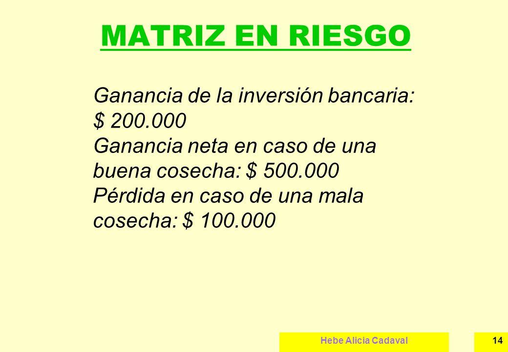 Hebe Alicia Cadaval14 MATRIZ EN RIESGO Ganancia de la inversión bancaria: $ 200.000 Ganancia neta en caso de una buena cosecha: $ 500.000 Pérdida en c