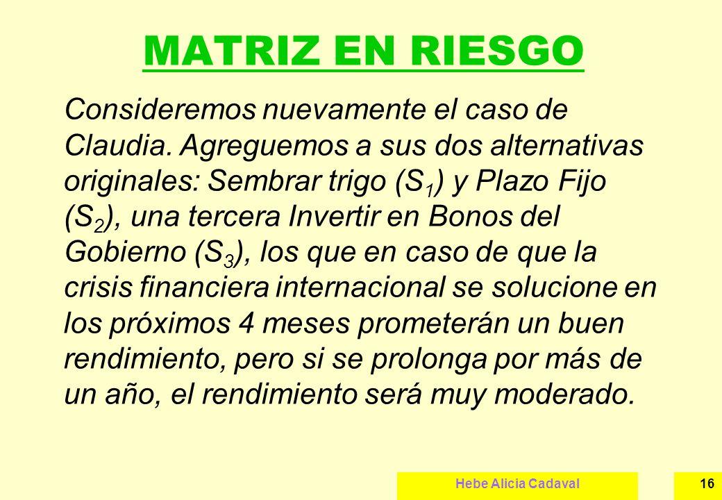 Hebe Alicia Cadaval16 MATRIZ EN RIESGO Consideremos nuevamente el caso de Claudia. Agreguemos a sus dos alternativas originales: Sembrar trigo (S 1 )