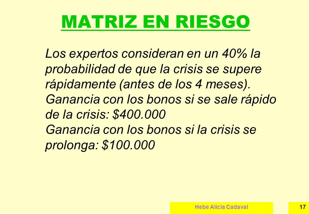 Hebe Alicia Cadaval17 MATRIZ EN RIESGO Los expertos consideran en un 40% la probabilidad de que la crisis se supere rápidamente (antes de los 4 meses)
