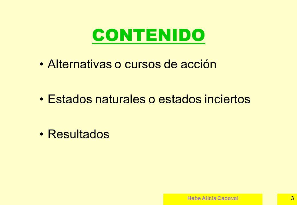 Hebe Alicia Cadaval3 CONTENIDO Alternativas o cursos de acción Estados naturales o estados inciertos Resultados