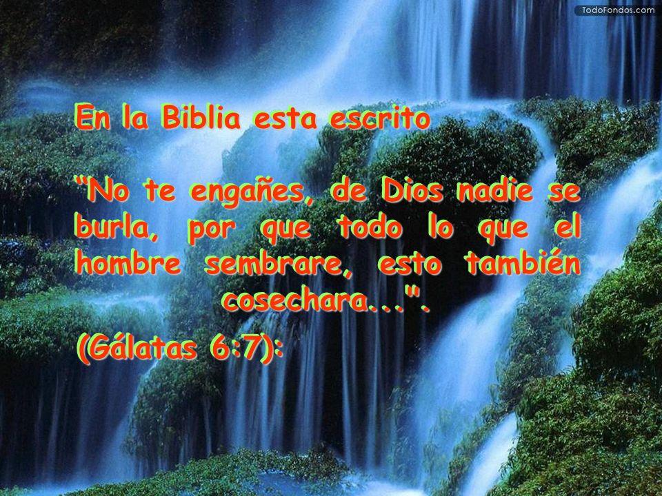 En la Biblia esta escrito No te engañes, de Dios nadie se burla, por que todo lo que el hombre sembrare, esto también cosechara...