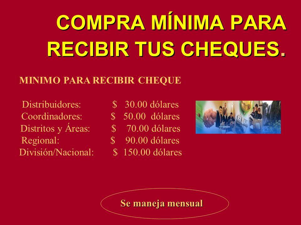 COMPRA MÍNIMA PARA RECIBIR TUS CHEQUES. MINIMO PARA RECIBIR CHEQUE Distribuidores: $ 30.00 dólares Coordinadores: $ 50.00 dólares Distritos y Áreas: $