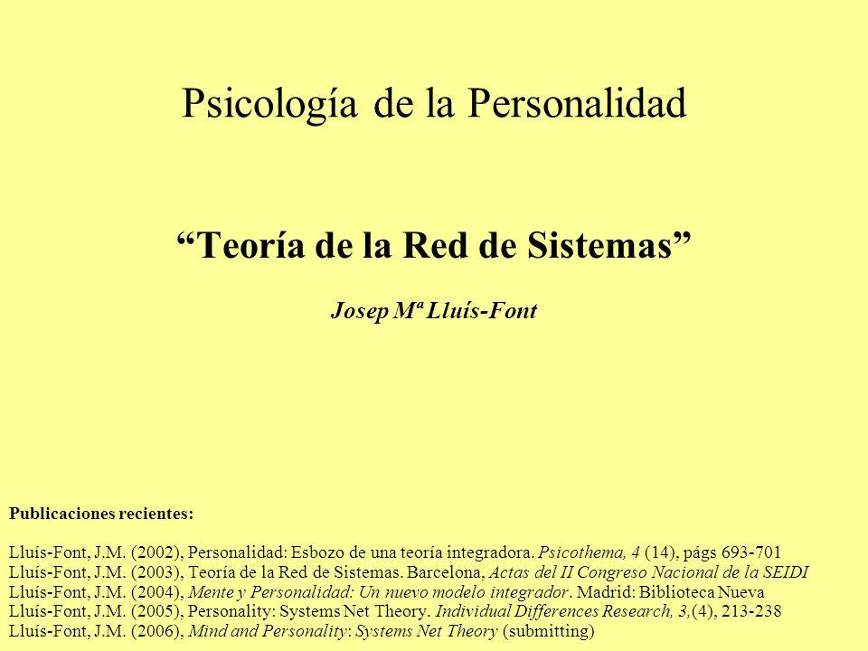 Psicología de la Personalidad Teoría de la Red de Sistemas Josep Mª Lluís-Font Publicaciones recientes: Lluís-Font, J.M. (2002), Personalidad: Esbozo