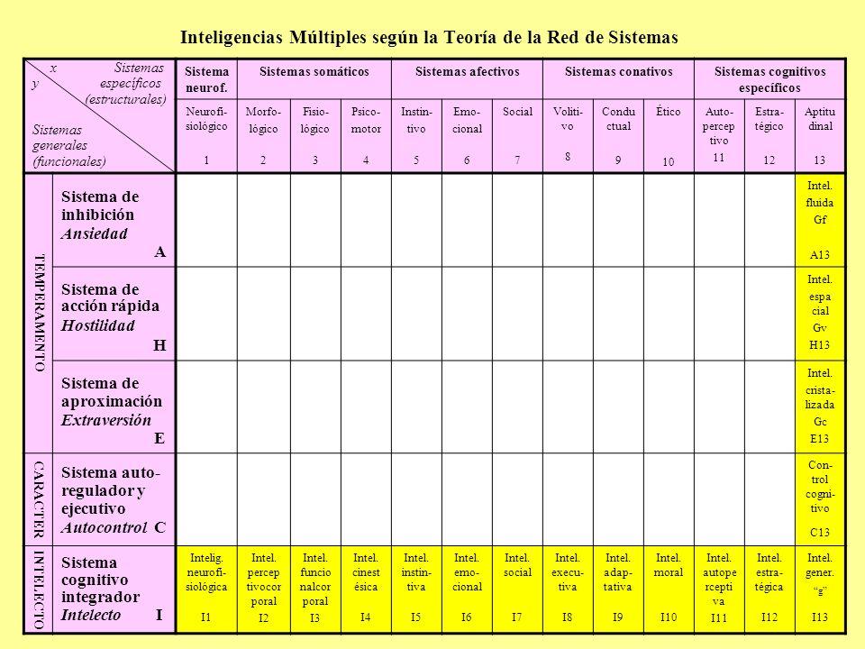 Inteligencias Múltiples según la Teoría de la Red de Sistemas x Sistemas y específicos (estructurales) Sistemas generales (funcionales) Sistema neurof