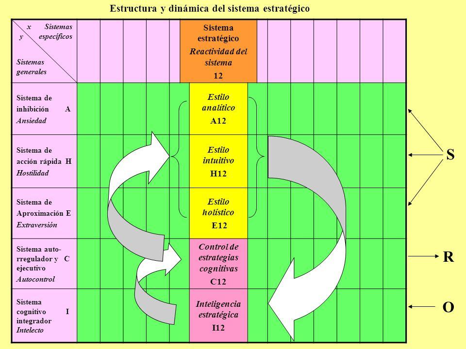 Estructura y dinámica del sistema estratégico x Sistemas y específicos Sistemas generales Sistema estratégico Reactividad del sistema 12 S R O Sistema