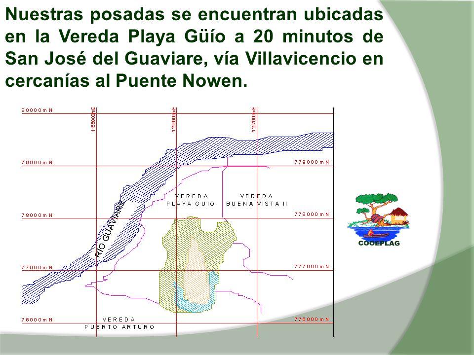 Nuestras posadas se encuentran ubicadas en la Vereda Playa Güío a 20 minutos de San José del Guaviare, vía Villavicencio en cercanías al Puente Nowen.
