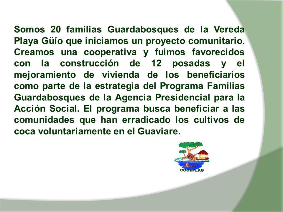 Somos 20 familias Guardabosques de la Vereda Playa Güío que iniciamos un proyecto comunitario. Creamos una cooperativa y fuimos favorecidos con la con