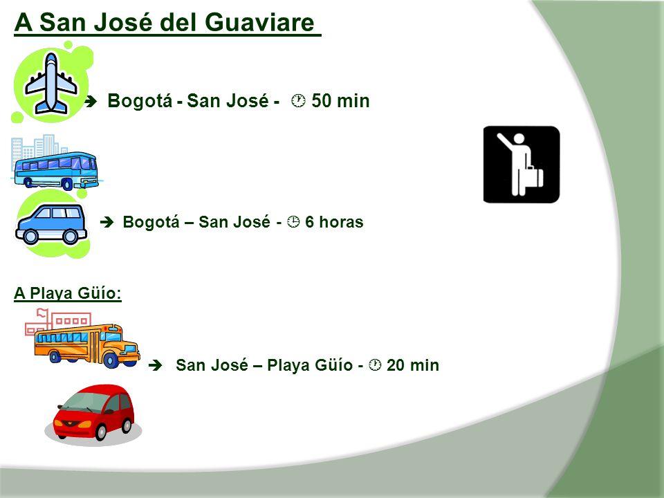 A San José del Guaviare Bogotá - San José - 50 min Bogotá – San José - 6 horas A Playa Güío: San José – Playa Güío - 20 min