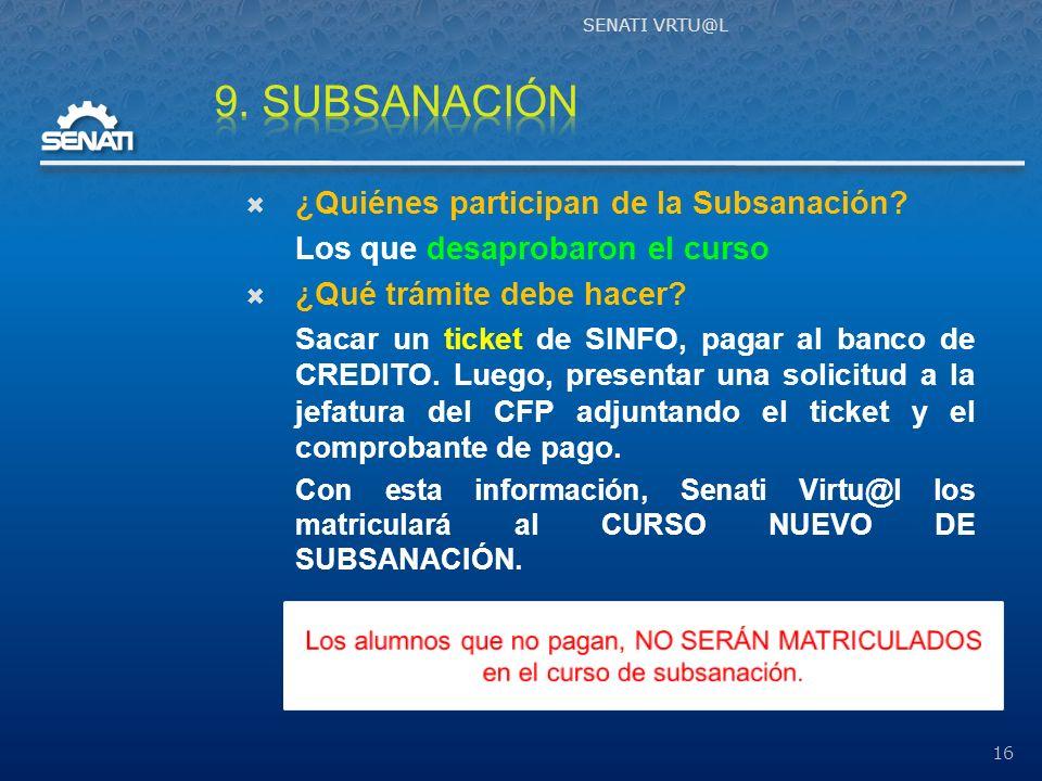 ¿Quiénes participan de la Subsanación.Los que desaprobaron el curso ¿Qué trámite debe hacer.