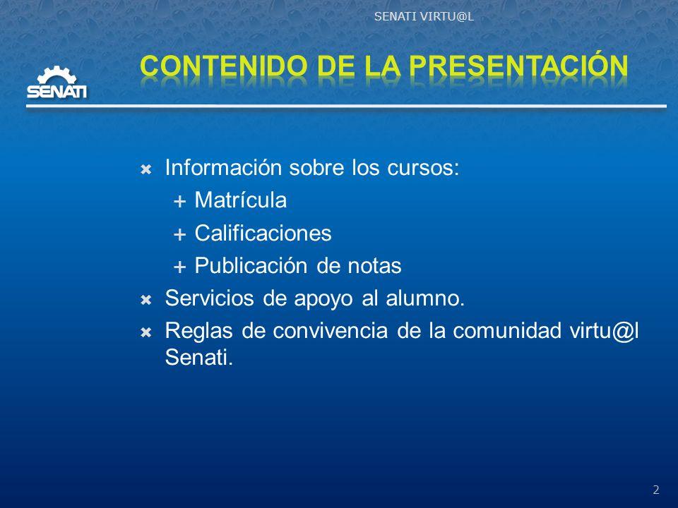 Información sobre los cursos: Matrícula Calificaciones Publicación de notas Servicios de apoyo al alumno.