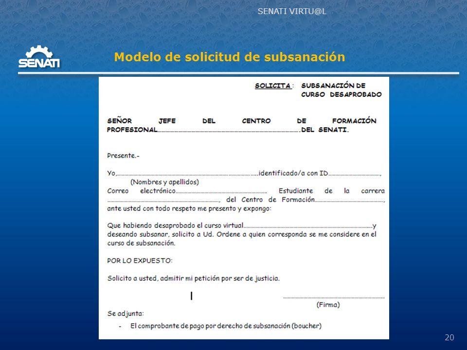 SENATI VIRTU@L 20 Modelo de solicitud de subsanación