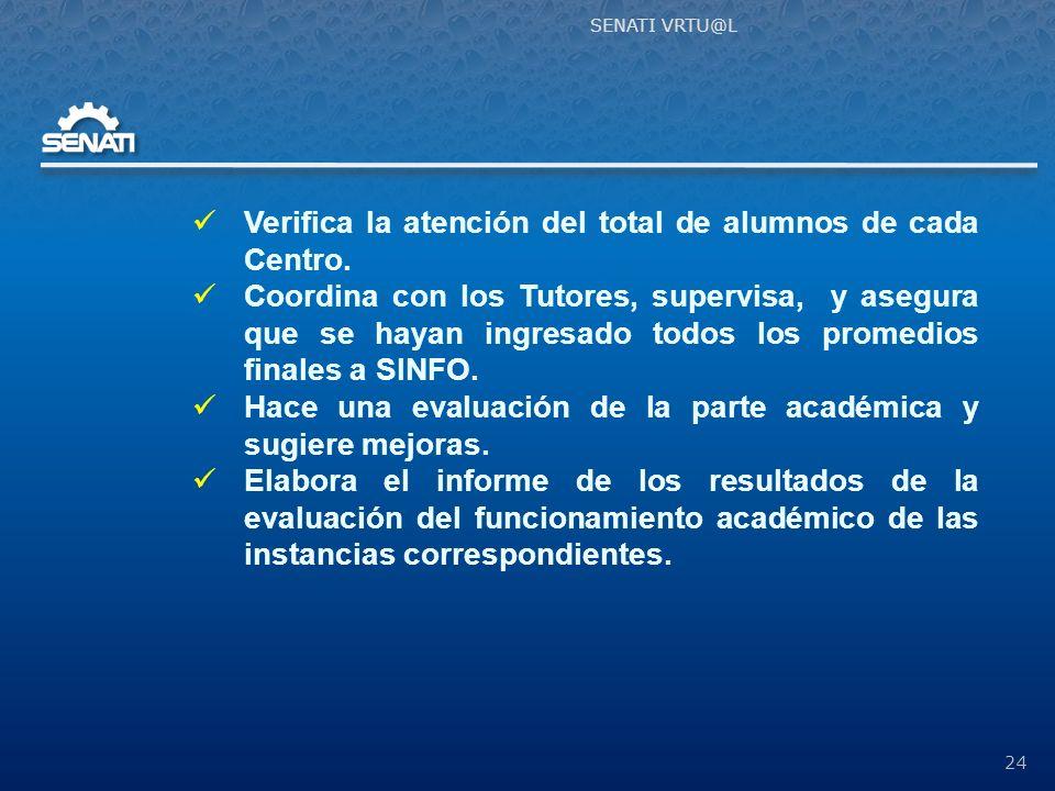 SENATI VRTU@L 24 Verifica la atención del total de alumnos de cada Centro.