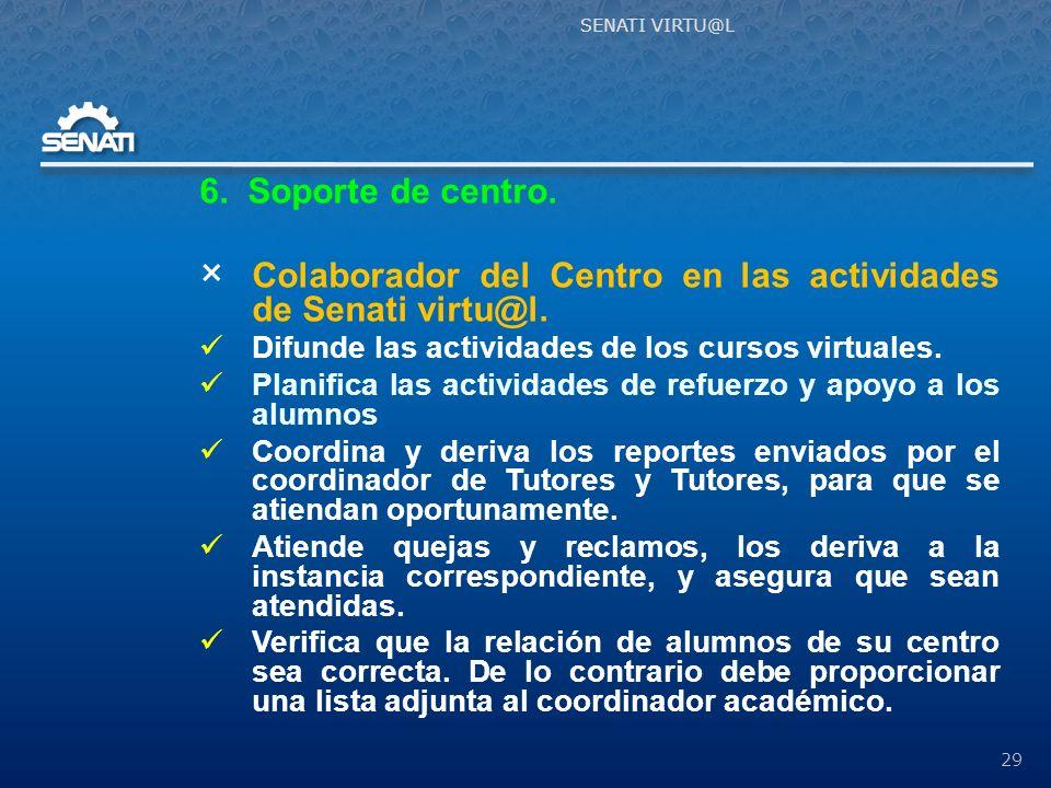 6.Soporte de centro. × Colaborador del Centro en las actividades de Senati virtu@l.