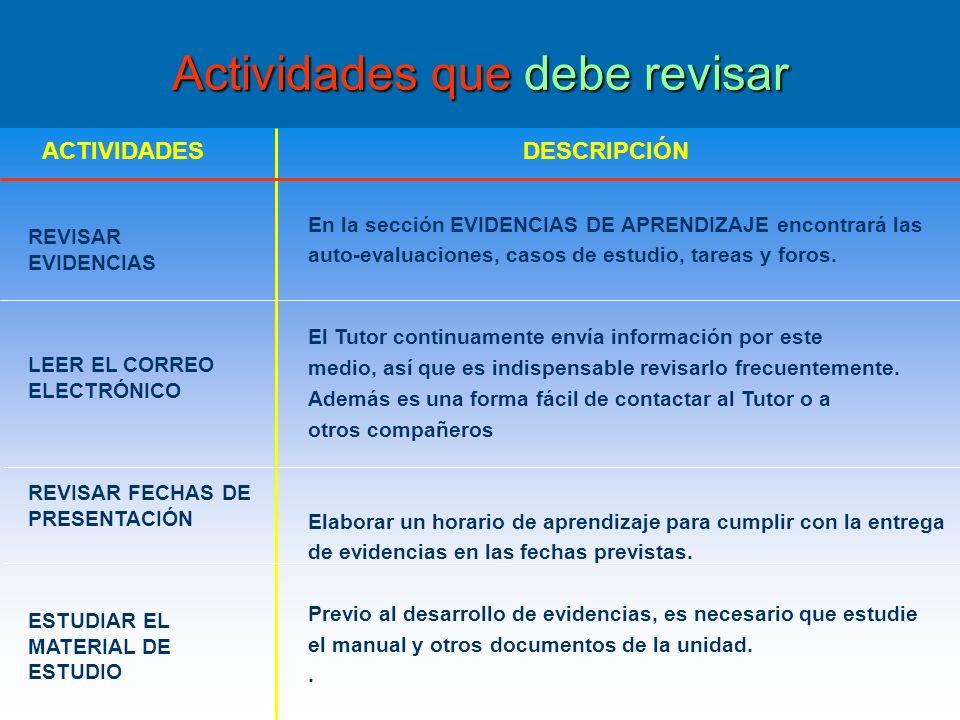 Actividades que debe revisar Actividades que debe revisar En la sección EVIDENCIAS DE APRENDIZAJE encontrará las auto-evaluaciones, casos de estudio, tareas y foros.