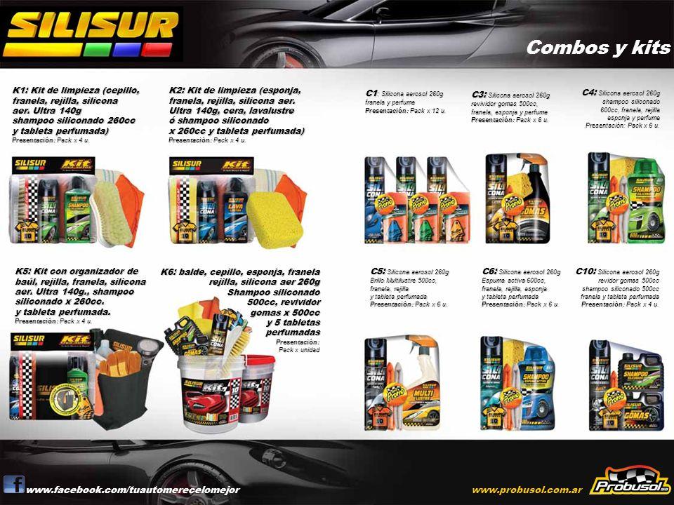Combos y kits www.facebook.com/tuautomerecelomejorwww.probusol.com.ar K1: Kit de limpieza (cepillo, franela, rejilla, silicona aer. Ultra 140g shampoo