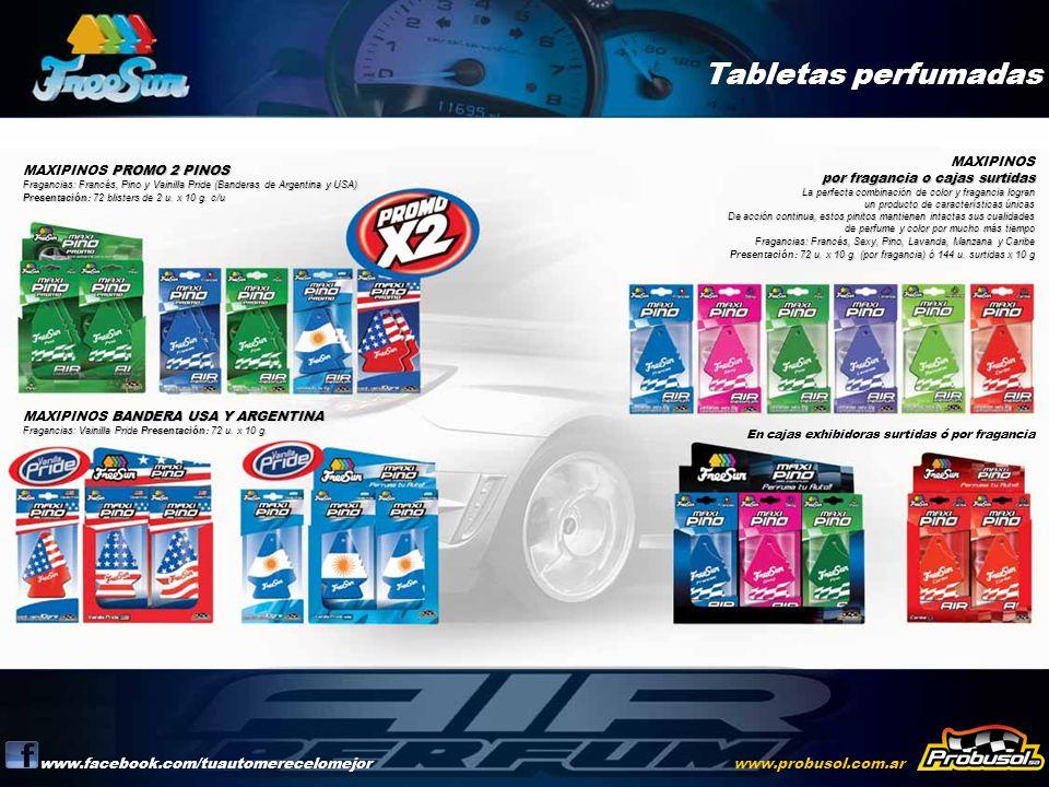 Tabletas perfumadas www.facebook.com/tuautomerecelomejorwww.probusol.com.ar PROMO 2 PINOS Fragancias: Francés, Pino y Vainilla Pride (Banderas de Arge