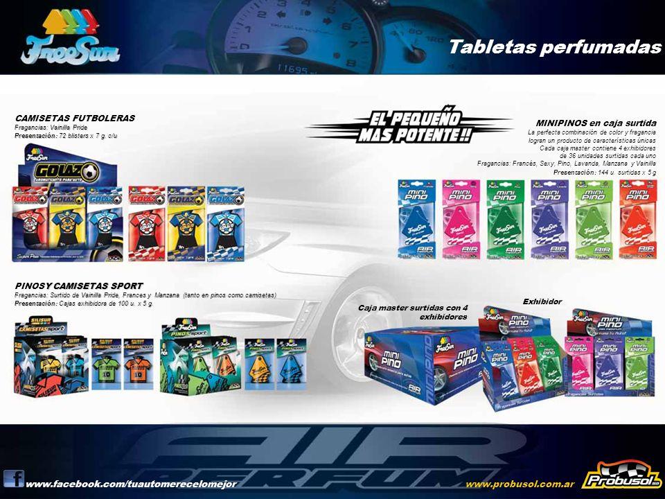 Tabletas perfumadas www.facebook.com/tuautomerecelomejorwww.probusol.com.ar Fragancias: Vainilla Pride Presentación: 72 blisters x 7 g. c/u CAMISETAS