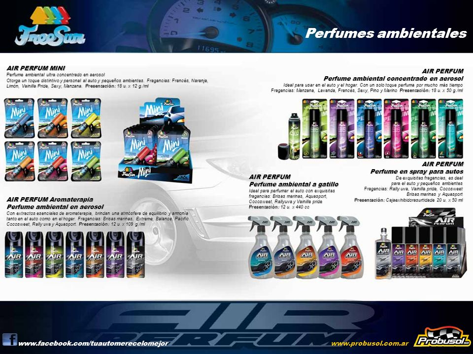 Perfumes ambientales www.facebook.com/tuautomerecelomejorwww.probusol.com.ar AIR PERFUM MINI Perfume ambiental ultra concentrado en aerosol Otorga un