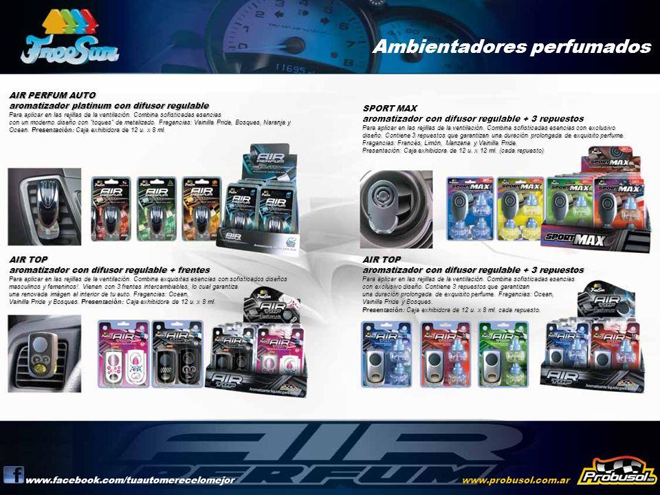 Ambientadores perfumados www.facebook.com/tuautomerecelomejorwww.probusol.com.ar AIR PERFUM AUTO aromatizador platinum con difusor regulable Para apli