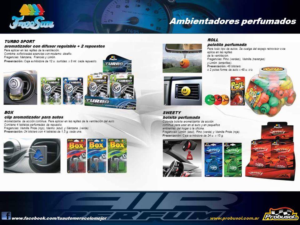 Ambientadores perfumados www.facebook.com/tuautomerecelomejorwww.probusol.com.ar TURBO SPORT aromatizador con difusor regulable + 2 repuestos Para apl