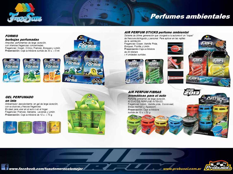 Perfumes ambientales www.facebook.com/tuautomerecelomejorwww.probusol.com.ar FORMIS burbujas perfumadas Ampollas perfumantes de larga duración, con in