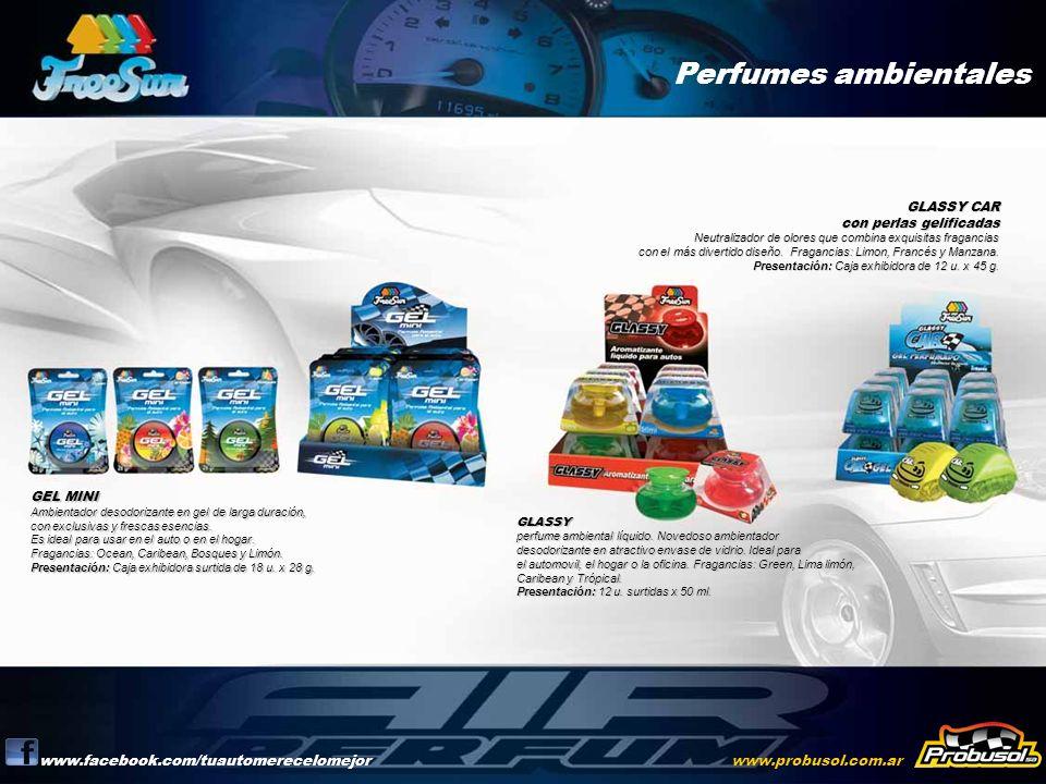 Perfumes ambientales www.facebook.com/tuautomerecelomejorwww.probusol.com.ar GEL MINI Ambientador desodorizante en gel de larga duración, con exclusiv