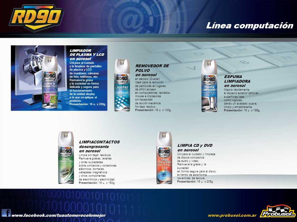 Línea computación www.facebook.com/tuautomerecelomejorwww.probusol.com.ar LIMPIADOR DE PLASMA Y LCD en aerosol Útil para el cuidado y la limpieza de p