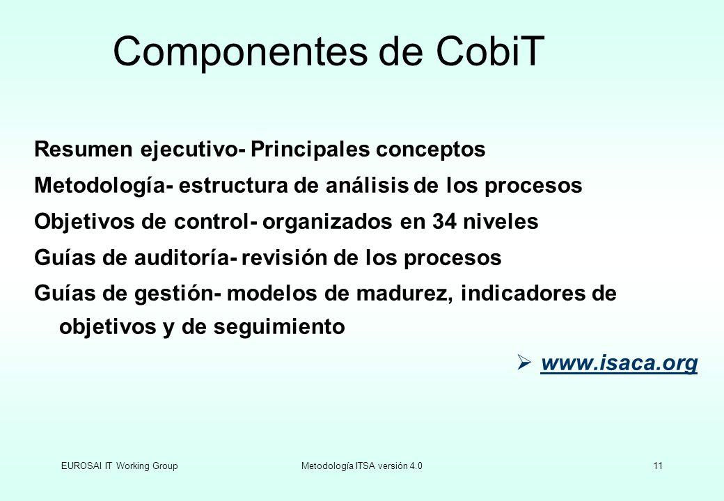 EUROSAI IT Working GroupMetodología ITSA versión 4.011 Resumen ejecutivo- Principales conceptos Metodología- estructura de análisis de los procesos Ob