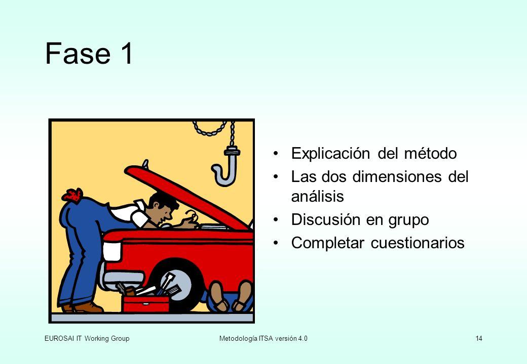 EUROSAI IT Working GroupMetodología ITSA versión 4.014 Fase 1 Explicación del método Las dos dimensiones del análisis Discusión en grupo Completar cue