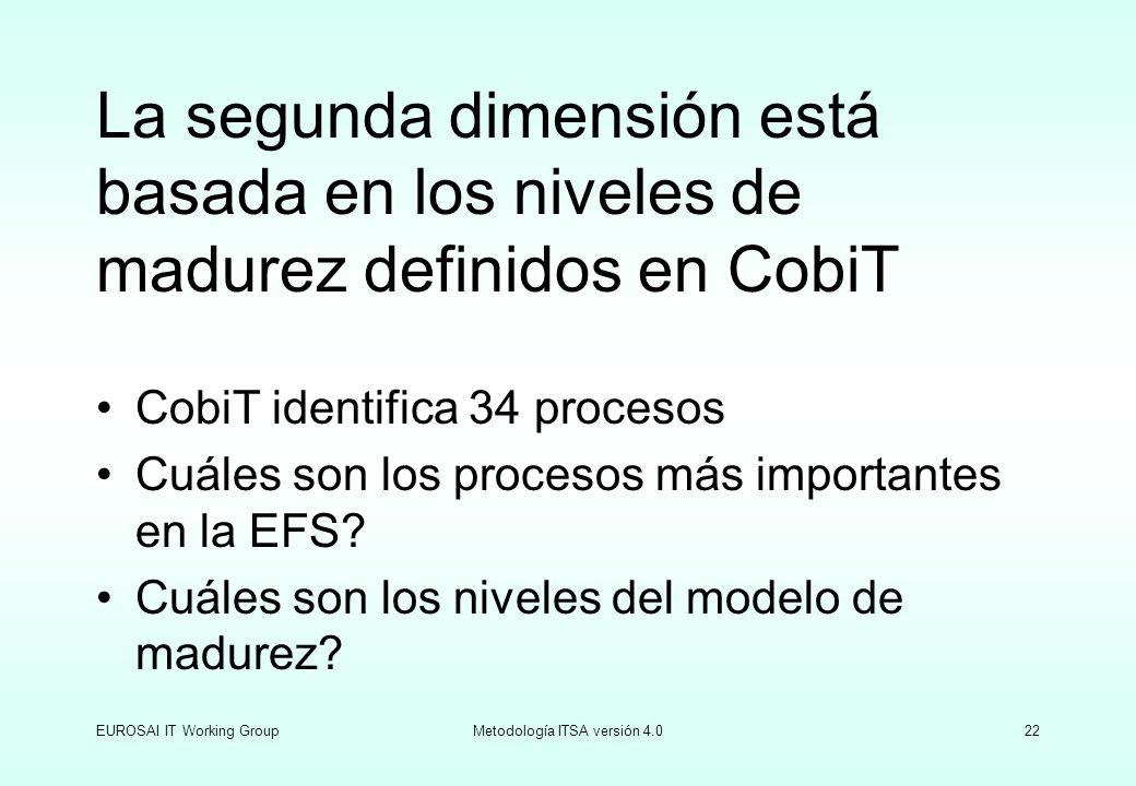 EUROSAI IT Working GroupMetodología ITSA versión 4.022 La segunda dimensión está basada en los niveles de madurez definidos en CobiT CobiT identifica