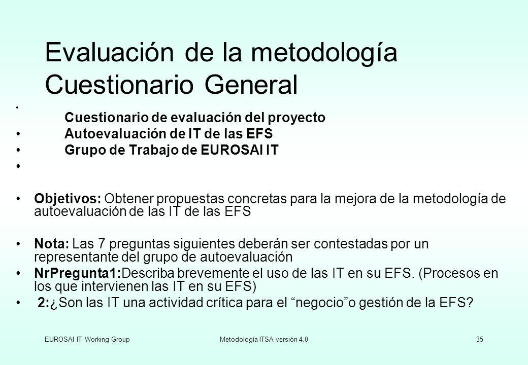 EUROSAI IT Working GroupMetodología ITSA versión 4.035 Evaluación de la metodología Cuestionario General Cuestionario de evaluación del proyecto Autoe