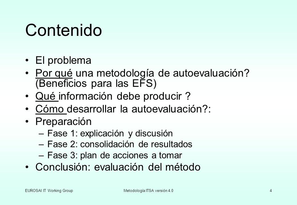 EUROSAI IT Working GroupMetodología ITSA versión 4.035 Evaluación de la metodología Cuestionario General Cuestionario de evaluación del proyecto Autoevaluación de IT de las EFS Grupo de Trabajo de EUROSAI IT Objetivos: Obtener propuestas concretas para la mejora de la metodología de autoevaluación de las IT de las EFS Nota: Las 7 preguntas siguientes deberán ser contestadas por un representante del grupo de autoevaluación NrPregunta1:Describa brevemente el uso de las IT en su EFS.
